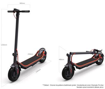 Citymate Pro 500 Watt Elektrikli Scooter 10 inch Şişme Teker Bluetooth Beyaz - Thumbnail